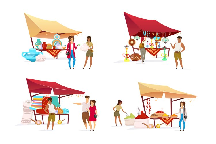 Tourists at eastern bazaar flat color vector characters set example image 1