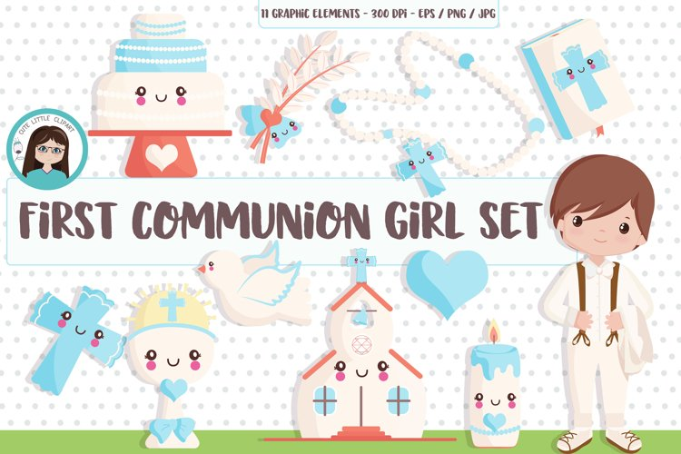 First Holy Communion Boy clipart SET example image 1