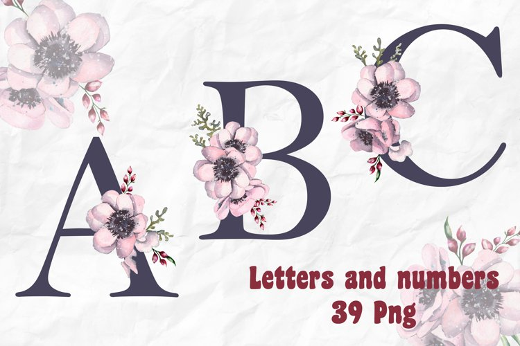 Alphabet Watercolor Flowers Letters Numbers Monogram PNG