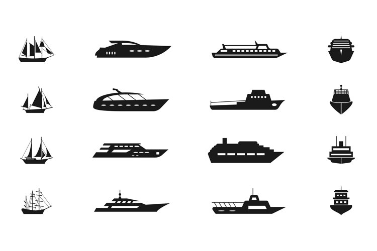 Ship and boat vector icon set example image 1