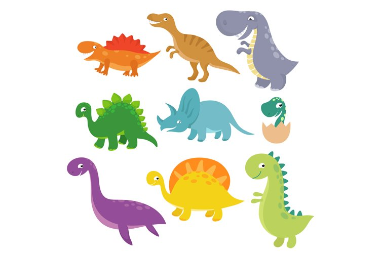 Cute baby dino vector characters isolated vector set example image 1