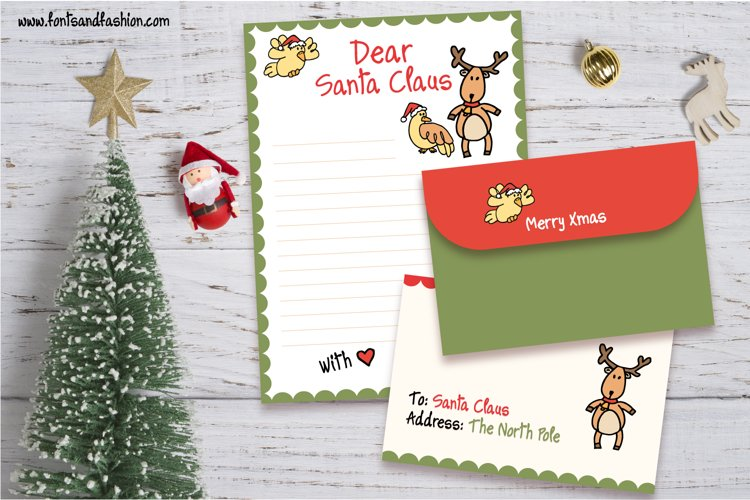 Santa Claus and Rudolph Doodle letter template example image 1