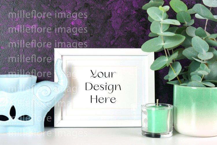 Frame Mockup Zen Décor Purple Background Mockup Styled Photo example image 1
