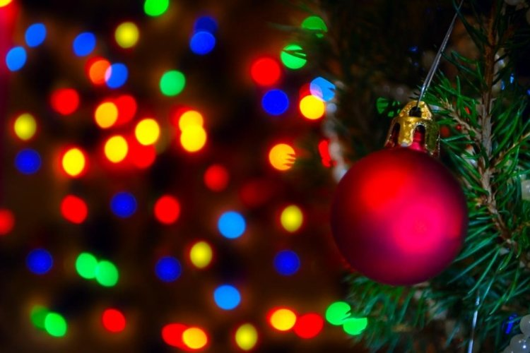 Red Christmas ball on Christmas tree with blurred lights. example image 1