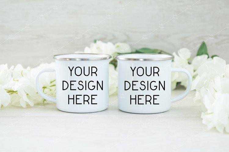 Mug Mockup Enamel Blank White Coffee Cup example image 1