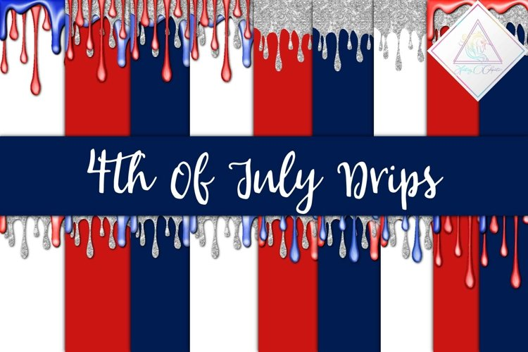 4th Of July Drips Digital Paper example image 1