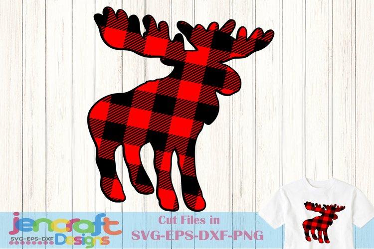 Buffalo Plaid Moose svg, Christmas svg Antlers Buck