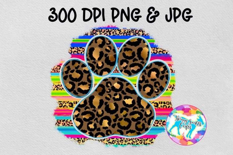 Serape leopard paw print - Sublimation Design Download example image 1