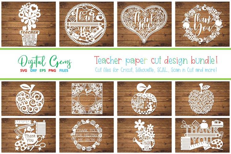 Teacher papercut bundle SVG / DXF / EPS / PNG files