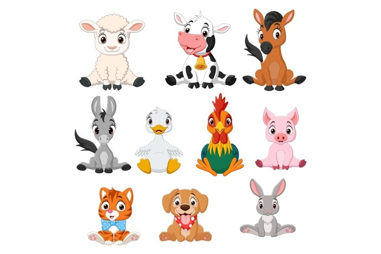 Cartoon Baby Farm Animals Bundle