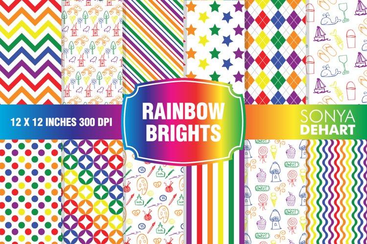 Rainbow Bright Digital Paper Pattern Pack