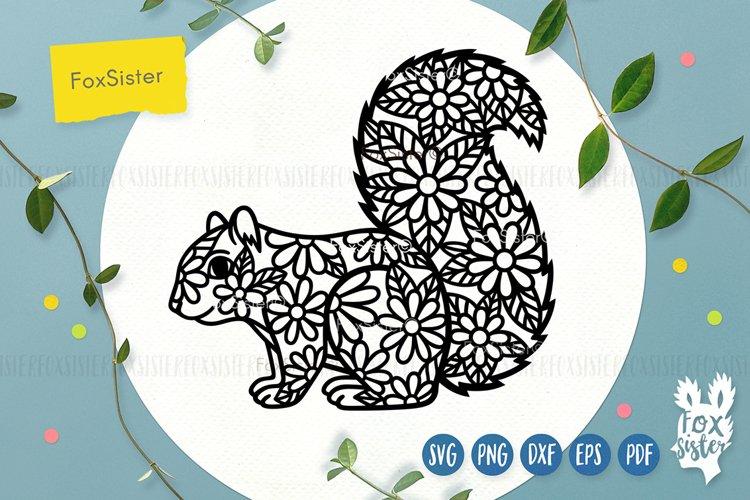Floral squirrel svg, animals svg example image 1