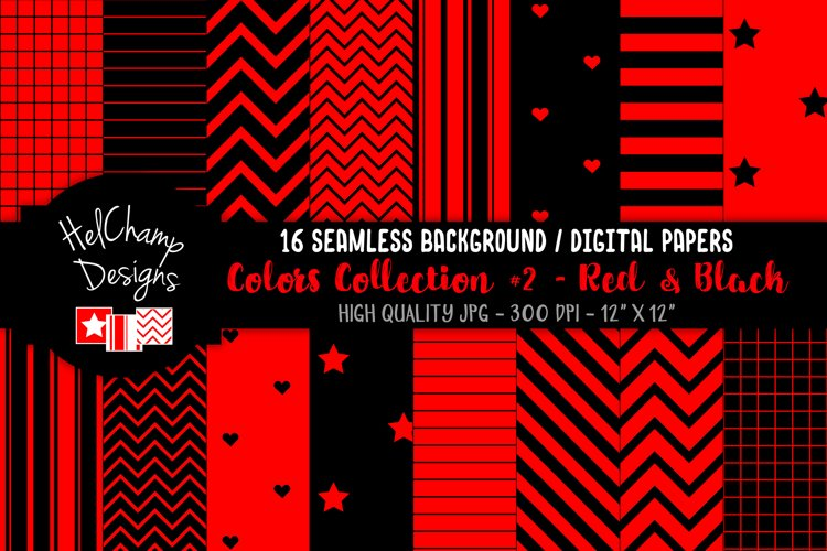 16 seamless Digital Papers - Red and Black - HC114 example image 1