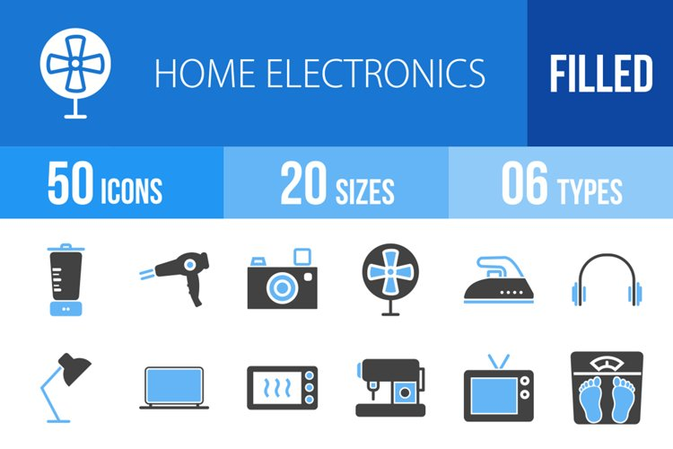 50 Home Electronics Filled Blue & Black Icons example image 1