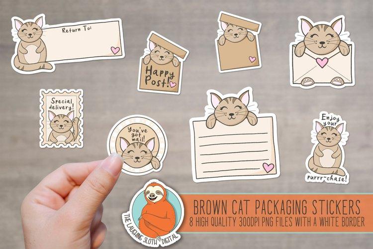 Cute Brown Cat Packaging Stickers