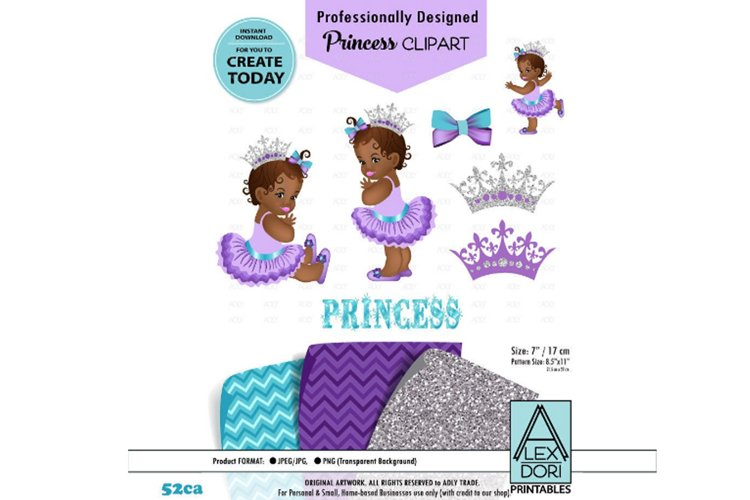 African Baby Princess Purple Turquoise Clipart example image 1