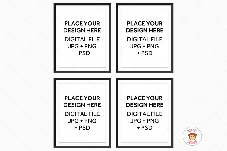 Four Black Frames Mockup, Poster Mockup for Wall Art example image 1