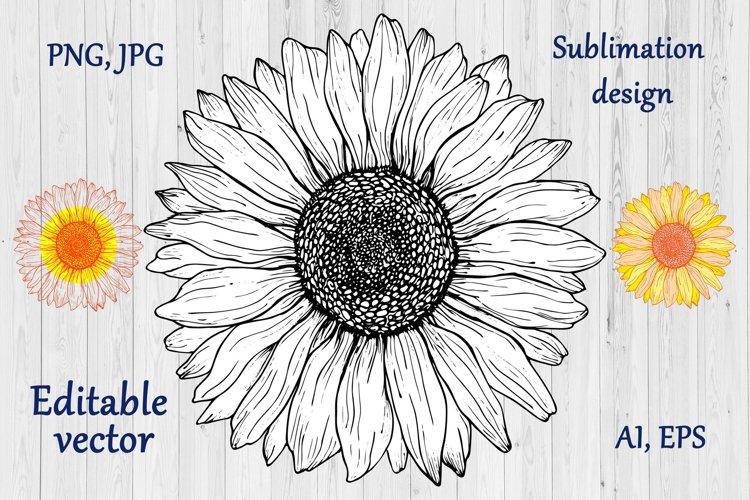 Sunflower Sublimation Design - Flowers Clipart \ Vector, PNG