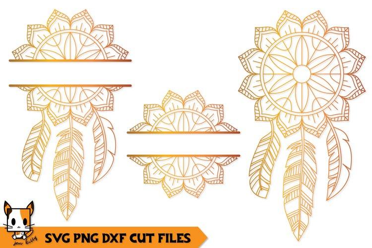 Mandala Monogram SVG | Floral Boho Dreamcatcher example image 1
