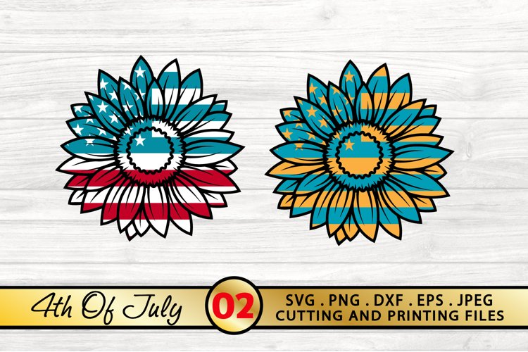 4th of July SVG PNG DXF EPS Patriotic Sunflowers SVG Bundle example image 1