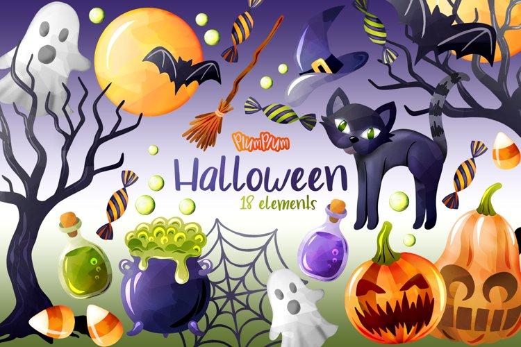 Halloween Watercolor Cliparts example image 1