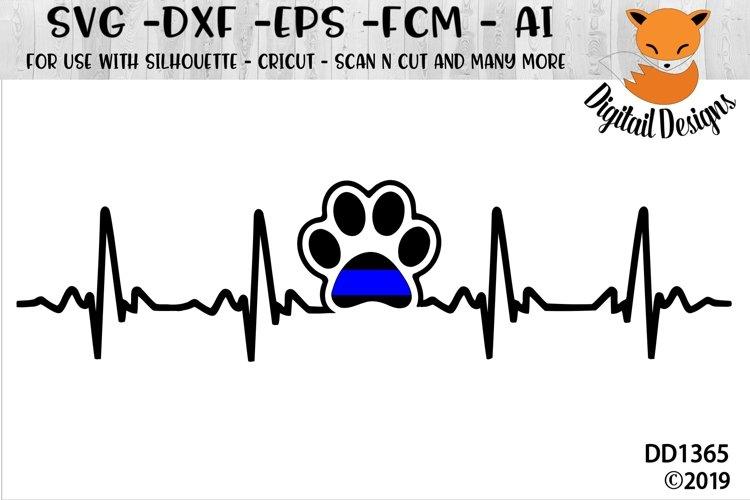 Police K9 EKG SVG - Silhouette - Cricut - Scan N Cut example image 1