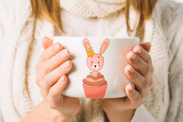 Cute cartoon bunny clipart. PNG. example image 1