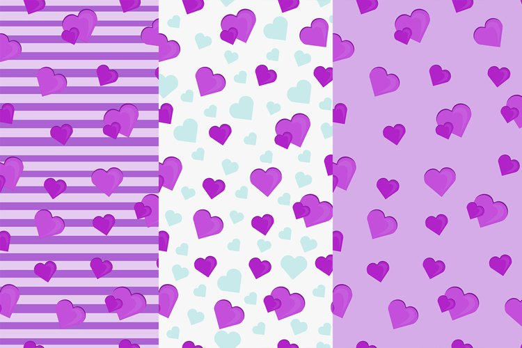 Set pattern with hearts Eps 10 JPEG example image 1