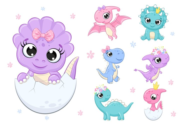 Cute Baby Dinosaur Clipart PNG, EPS, Dino girl party.