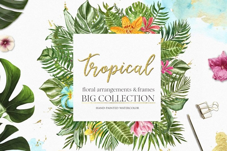 Watercolor Tropical leaf Greenery Leaves Floral Clipart example image 1