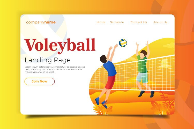Volleyball - Landing Page Illustration example image 1