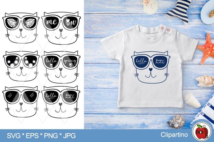 Cat summer SVG Bundle-cat face cut file-print tshirt