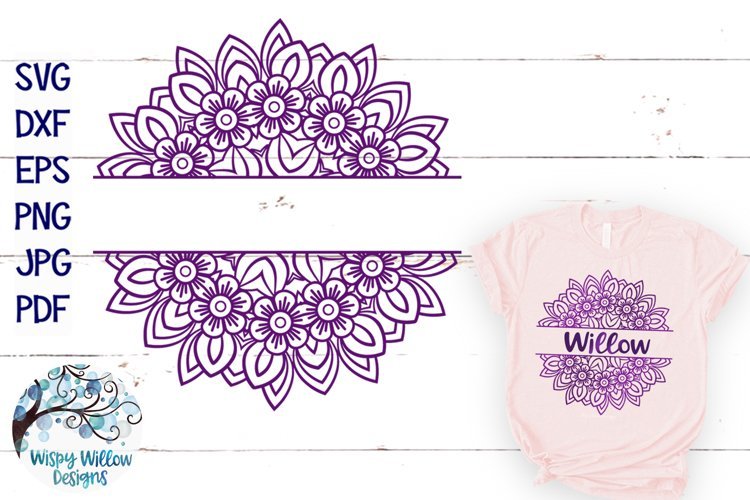 Spring Mandala SVG | Split Mandala for Monogram or Name SVG example image 1