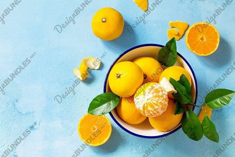 Fresh and juicy tangerines, food background. example image 1