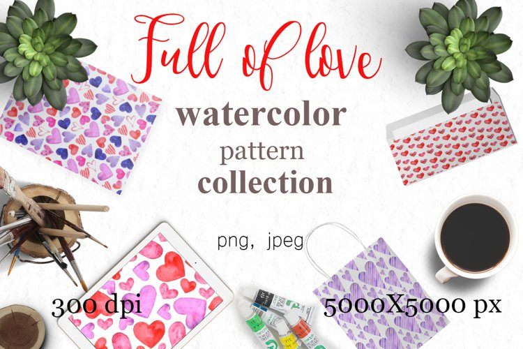 Full of love watercolor pattern set example image 1