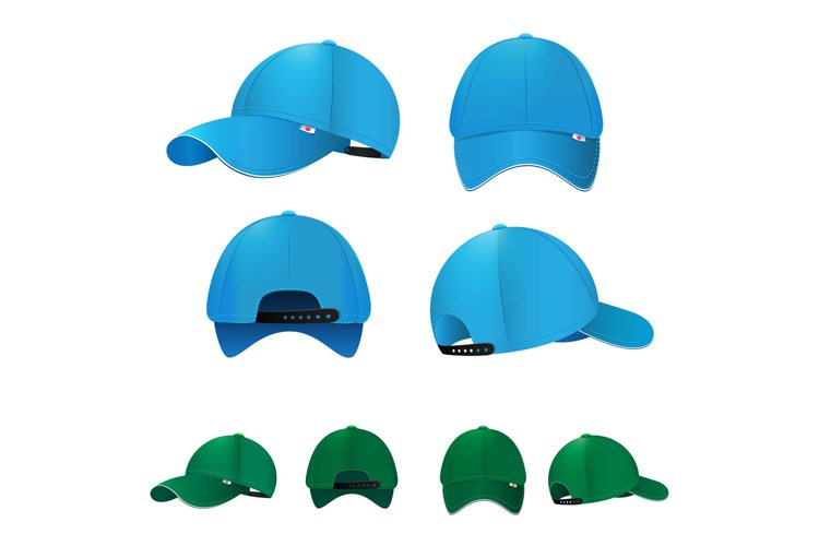 Blank baseball caps in different sides and colors. Vector il example image 1