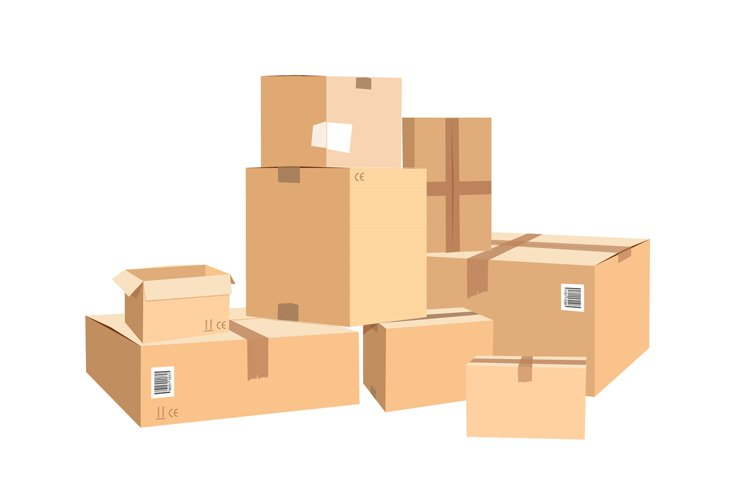 Cardboard boxes in different sizes. Packages isolated on whi example image 1