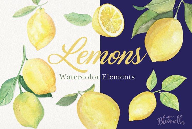 Lemon Watercolor Clipart Elements Hand Painted Lemons Leaves