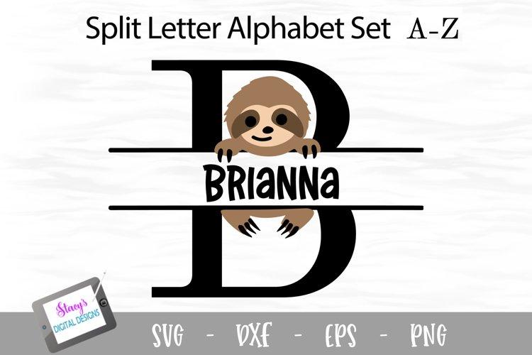 Sloth Split Letters A- Z - 26 Split Monogram SVG Files example image 1