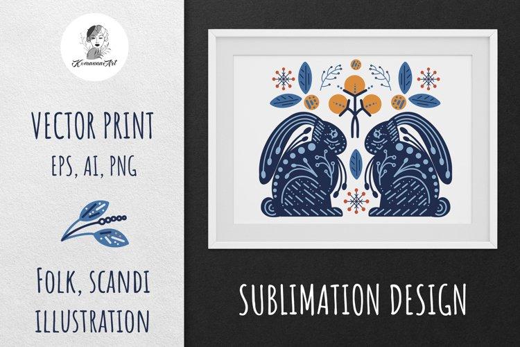 Vector Winter Modern Scandy Folk print, Sublimation Design example image 1