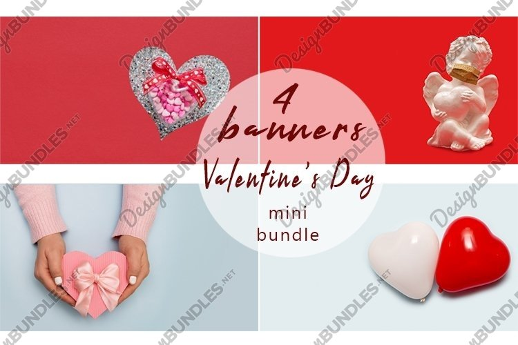 Valentines day banner background copy space 4 photos example image 1