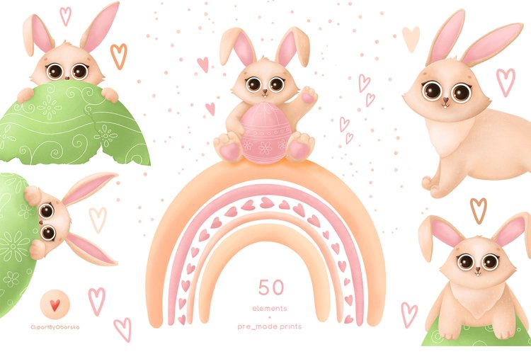 Easter bunnies cute clipart, bunny rabbit Easter clipart