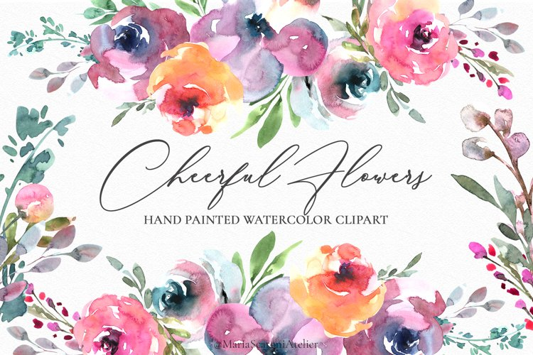 Cheerful Flowers - Watercolor Clipart