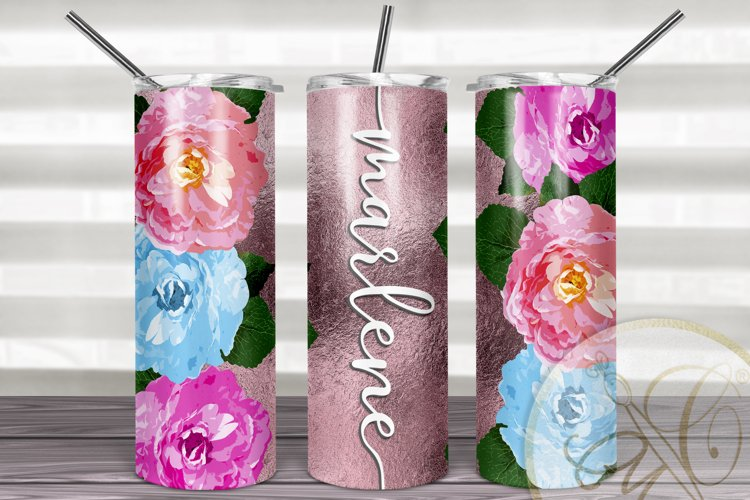 Flowers 20 oz Skinny Tumbler Sublimation / Rose Gold FOIL example image 1