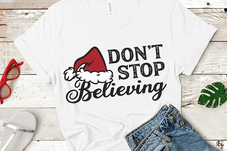 Christmas shirt sublimation, Dont Stop Believing png