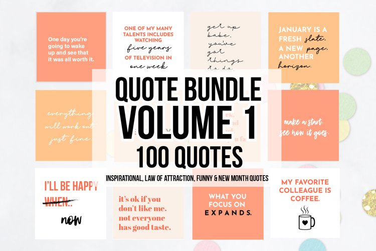 100 x Peach Social Media Quotes Bundle example image 1