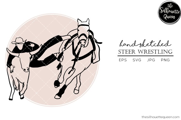Hand drawn Rodeo Steer Wrestling Vector Sketch example image 1