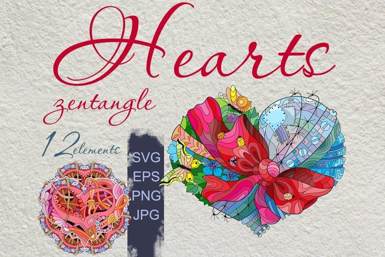 Hearts zentangle example image 1