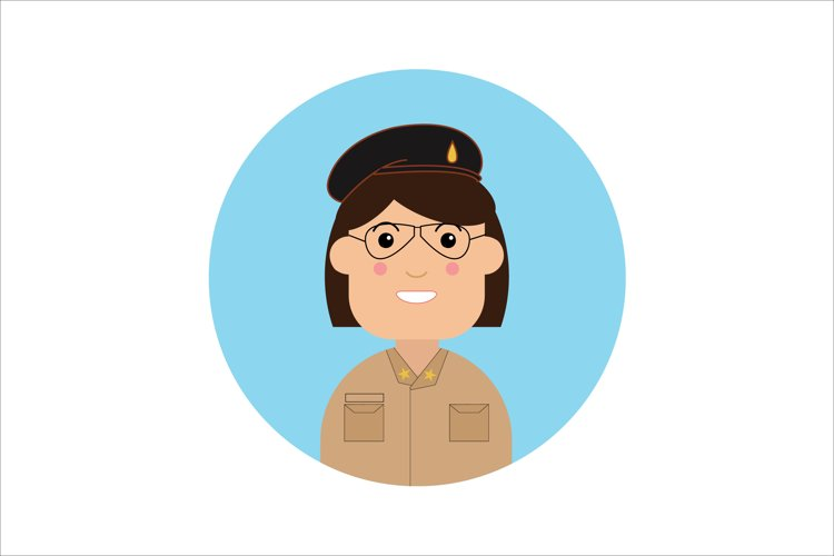 Icon Character Policewoman with Glasses example image 1
