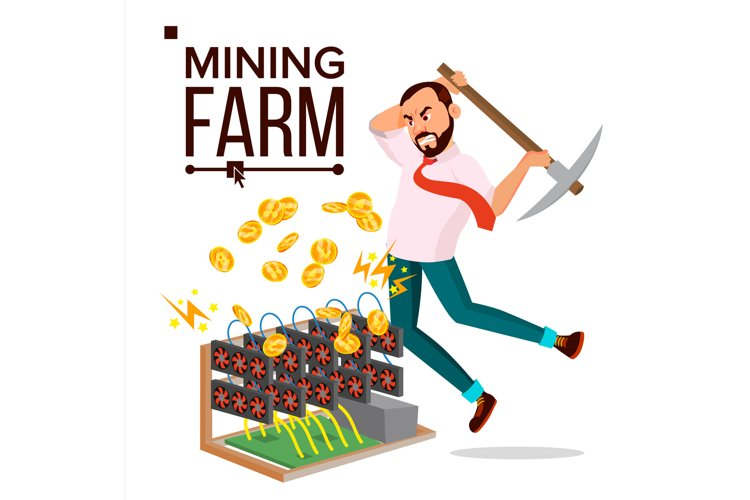 Mining Farm Vector. Businessman Miner. Server Room. Farming